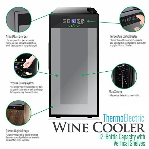 Nutrichef 12 Bottle Wine Cooler